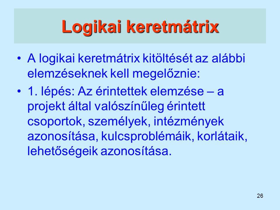Logikai keretmátrix A logikai keretmátrix kitöltését az alábbi elemzéseknek kell megelőznie: