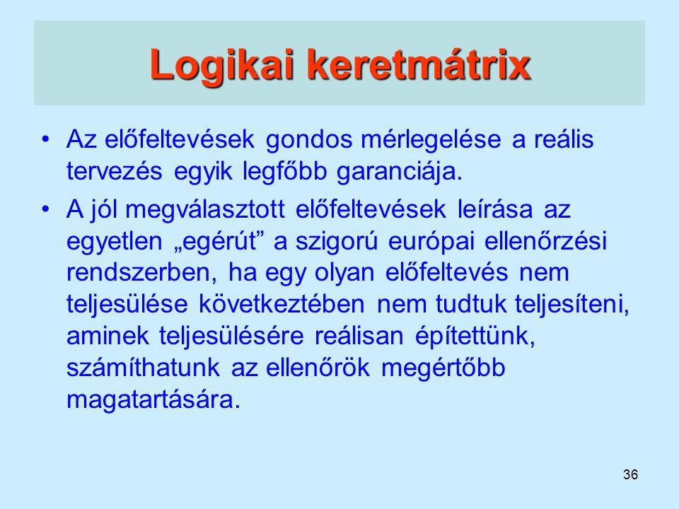 Logikai keretmátrix Az előfeltevések gondos mérlegelése a reális tervezés egyik legfőbb garanciája.