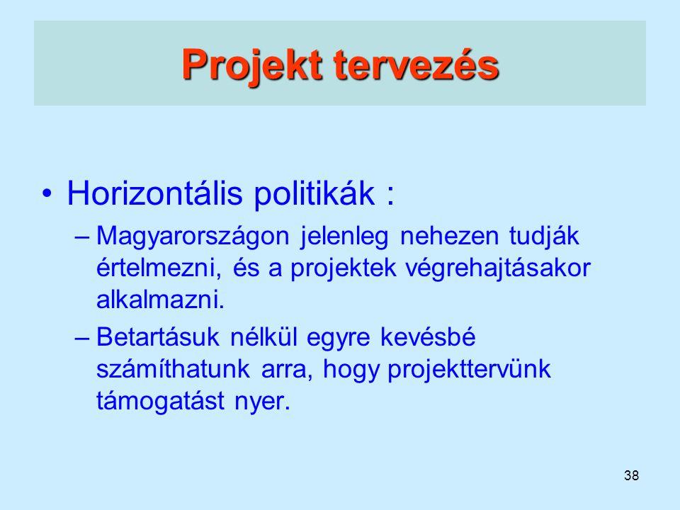 Projekt tervezés Horizontális politikák :