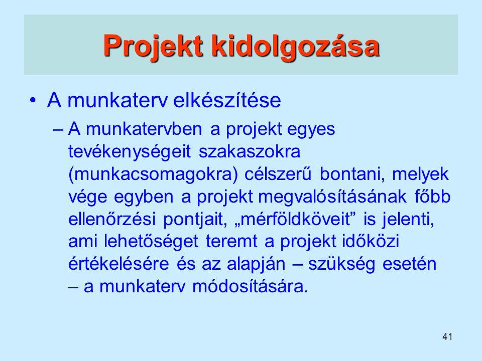 Projekt kidolgozása A munkaterv elkészítése