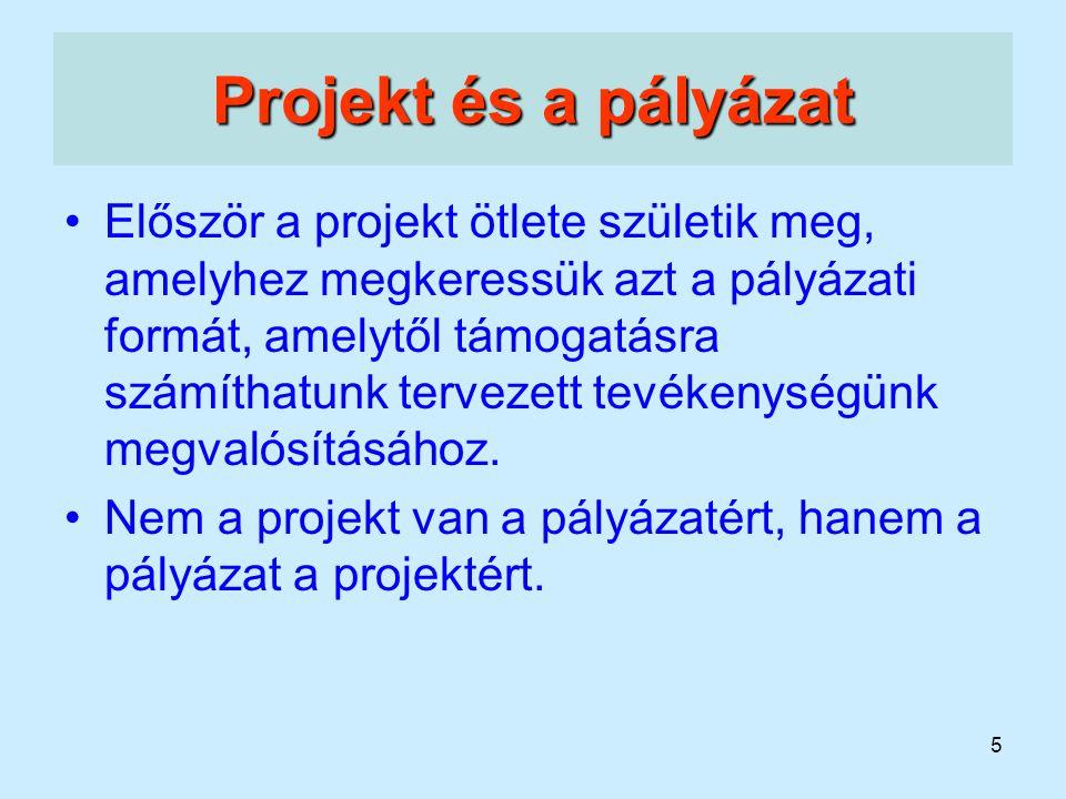 Projekt és a pályázat
