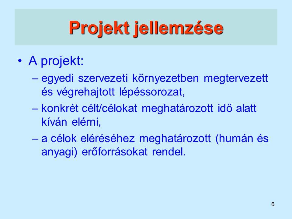 Projekt jellemzése A projekt: