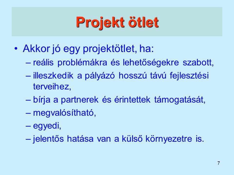 Projekt ötlet Akkor jó egy projektötlet, ha: