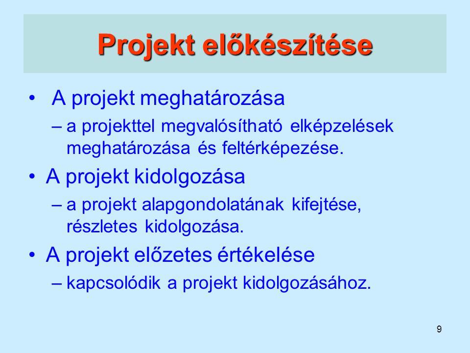 Projekt előkészítése A projekt meghatározása A projekt kidolgozása