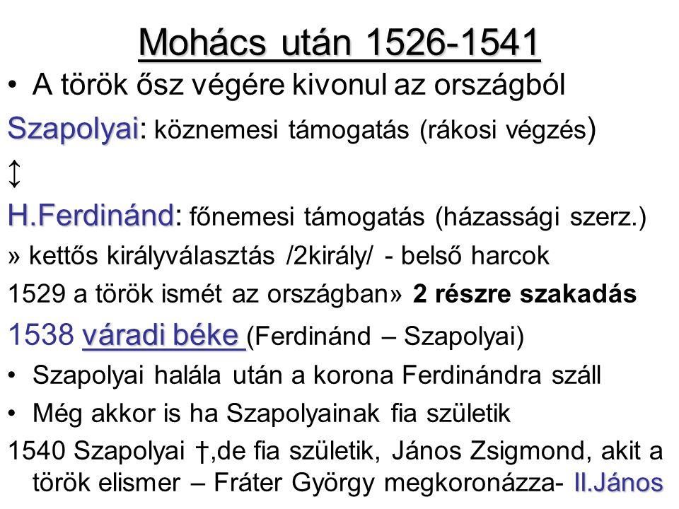 Mohács után 1526-1541 A török ősz végére kivonul az országból