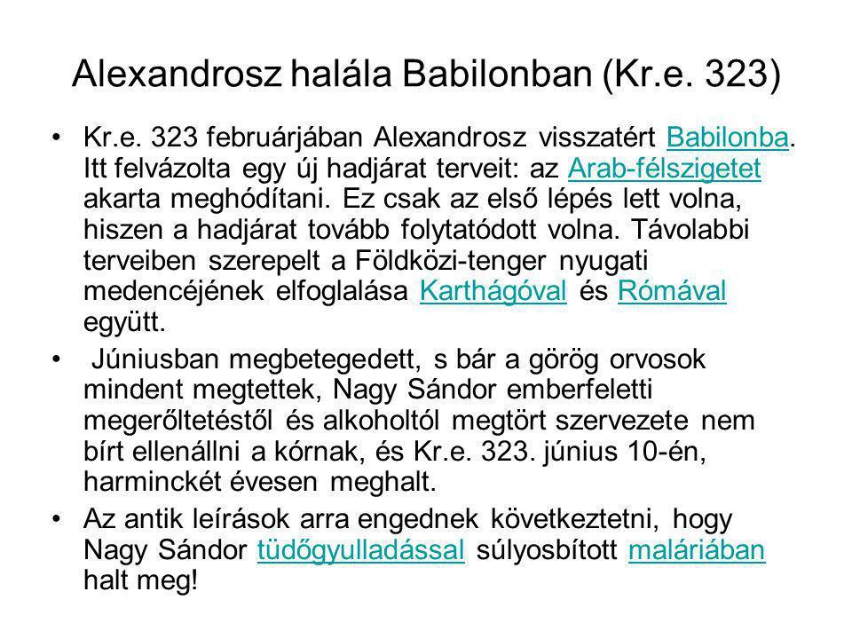 Alexandrosz halála Babilonban (Kr.e. 323)