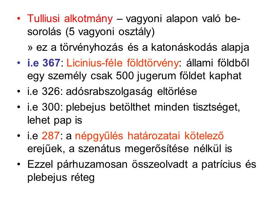 Tulliusi alkotmány – vagyoni alapon való be-sorolás (5 vagyoni osztály)