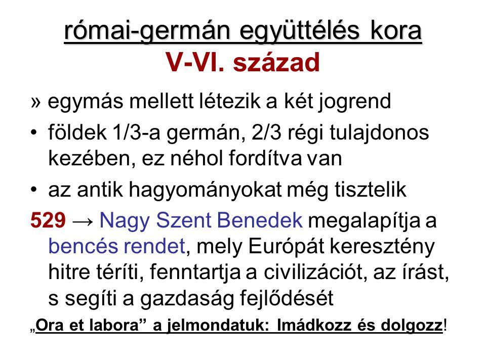 római-germán együttélés kora V-VI. század