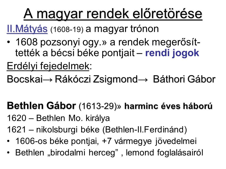 A magyar rendek előretörése