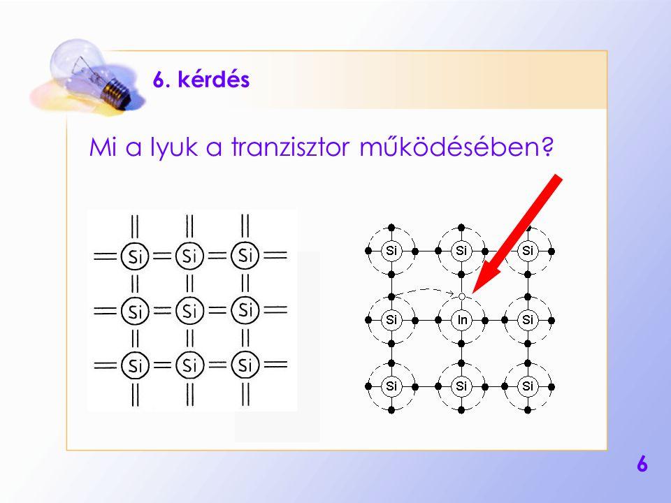 Mi a lyuk a tranzisztor működésében