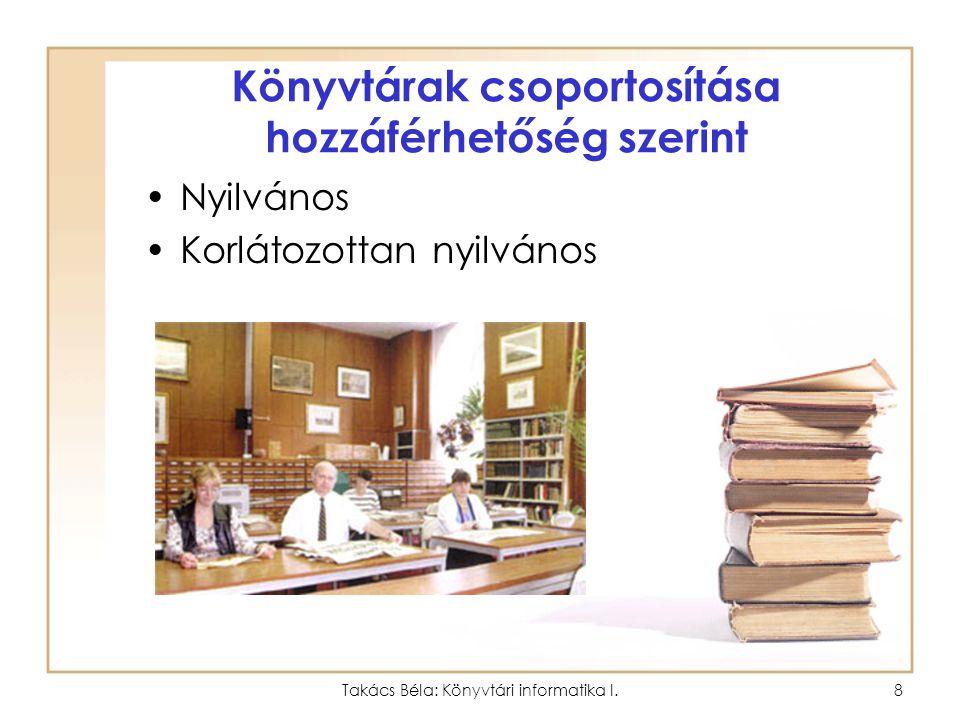Könyvtárak csoportosítása hozzáférhetőség szerint