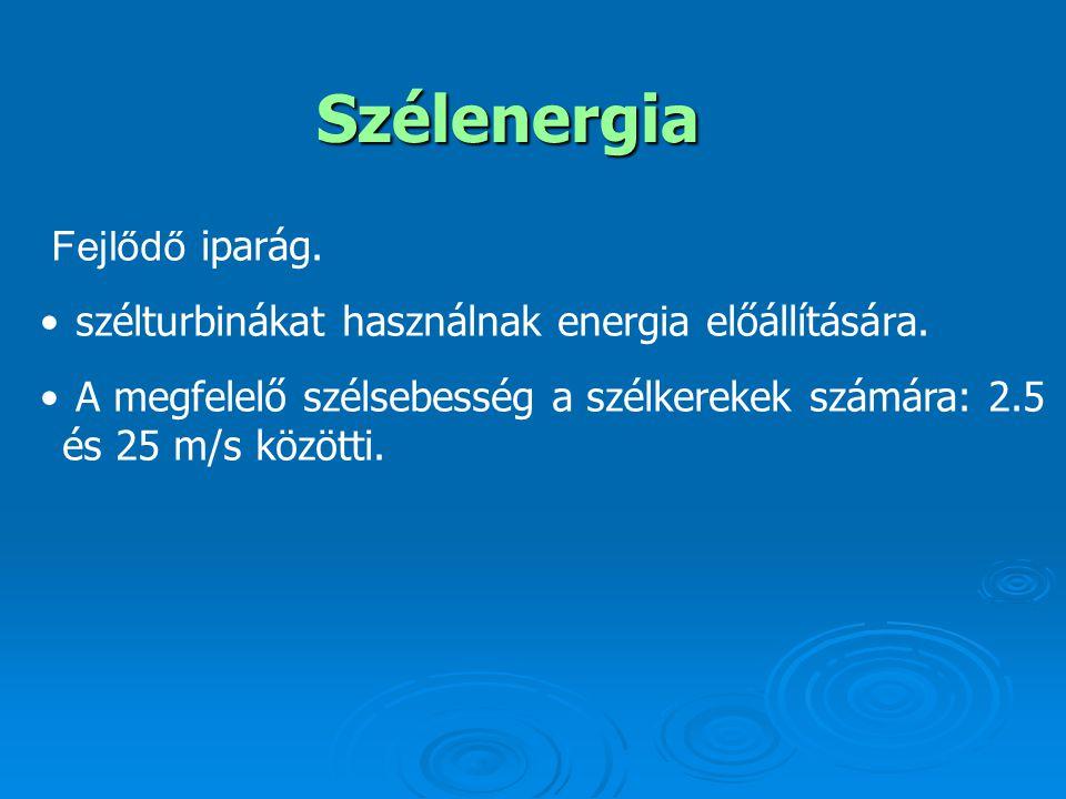 Szélenergia Fejlődő iparág.