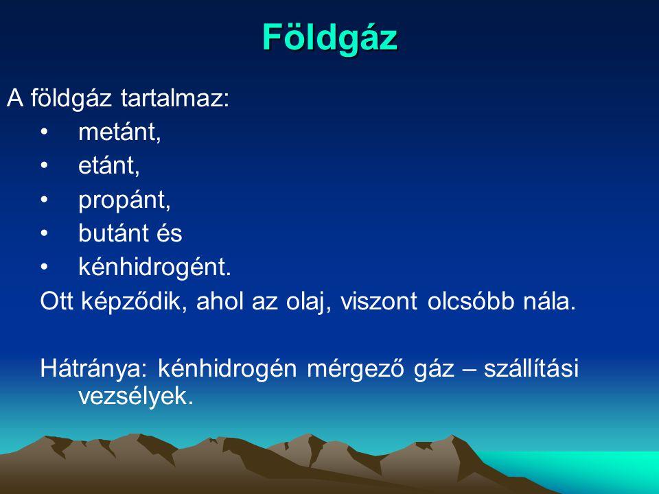 Földgáz A földgáz tartalmaz: metánt, etánt, propánt, butánt és
