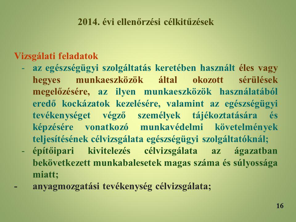 2014. évi ellenőrzési célkitűzések