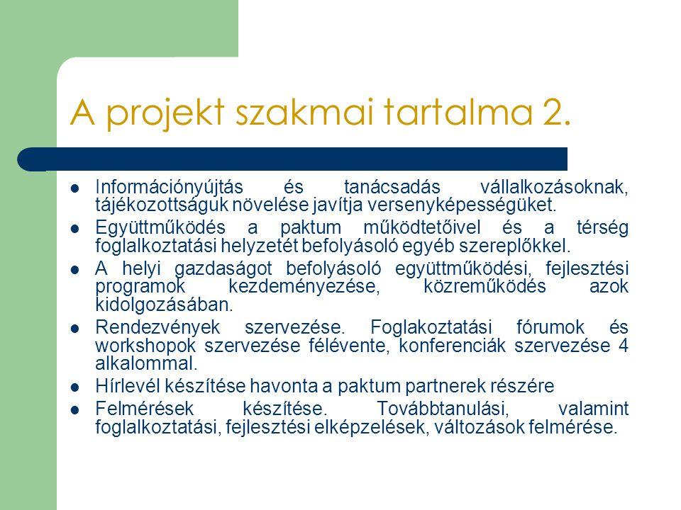 A projekt szakmai tartalma 2.