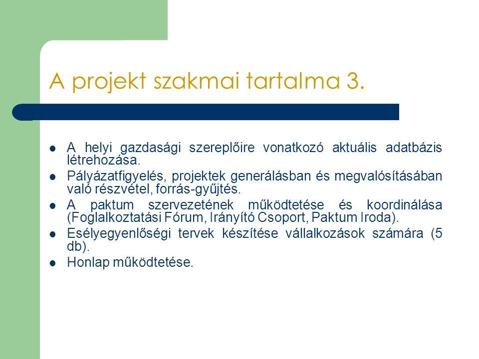 A projekt szakmai tartalma 3.