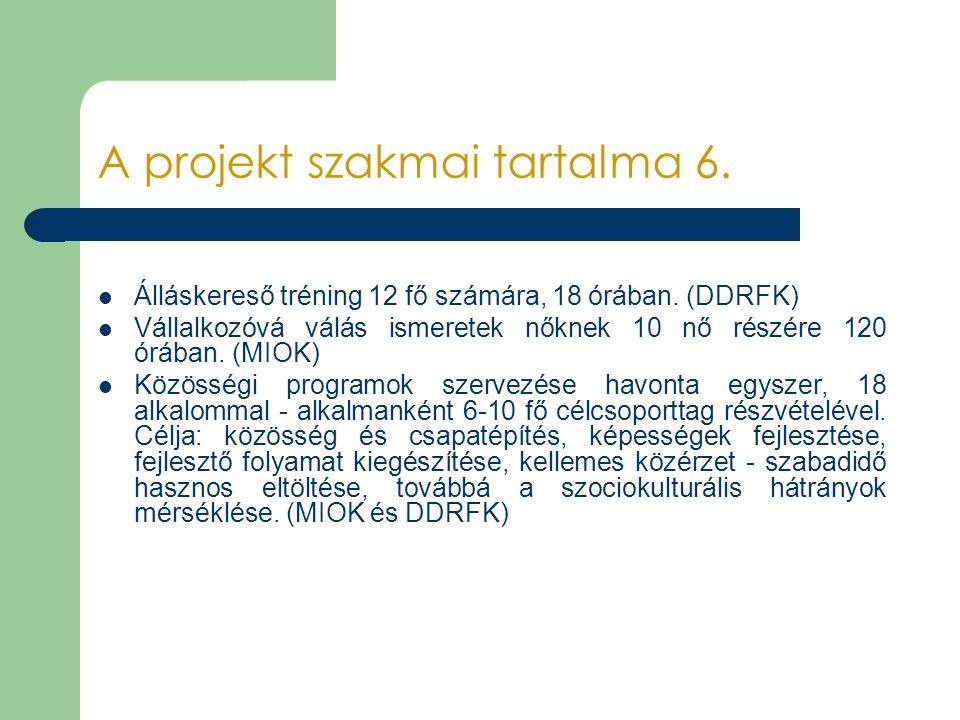 A projekt szakmai tartalma 6.