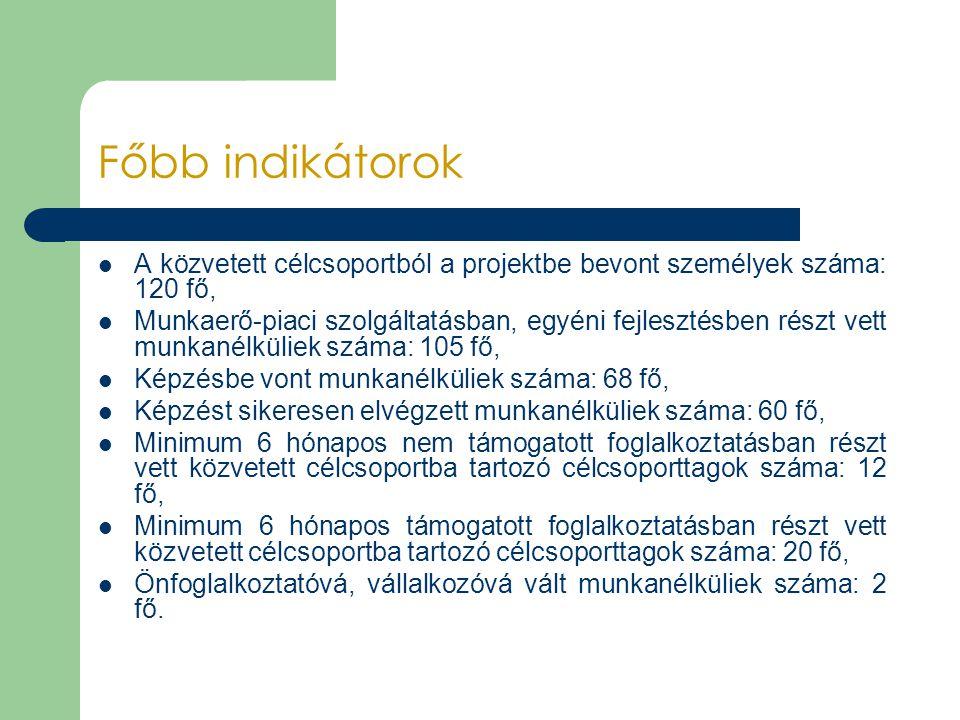 Főbb indikátorok A közvetett célcsoportból a projektbe bevont személyek száma: 120 fő,