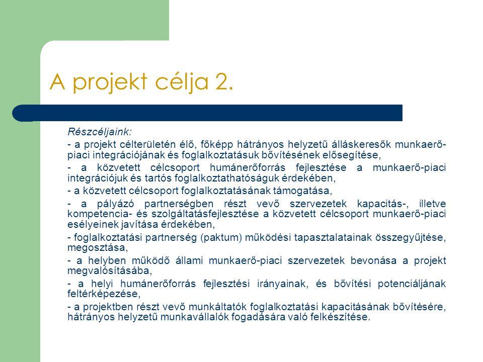 A projekt célja 2. Részcéljaink: