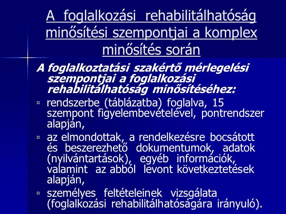 A foglalkozási rehabilitálhatóság minősítési szempontjai a komplex minősítés során