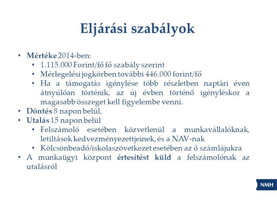 Eljárási szabályok Mértéke 2014-ben: