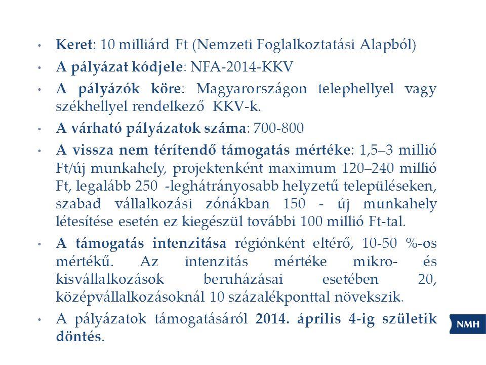 Keret: 10 milliárd Ft (Nemzeti Foglalkoztatási Alapból)