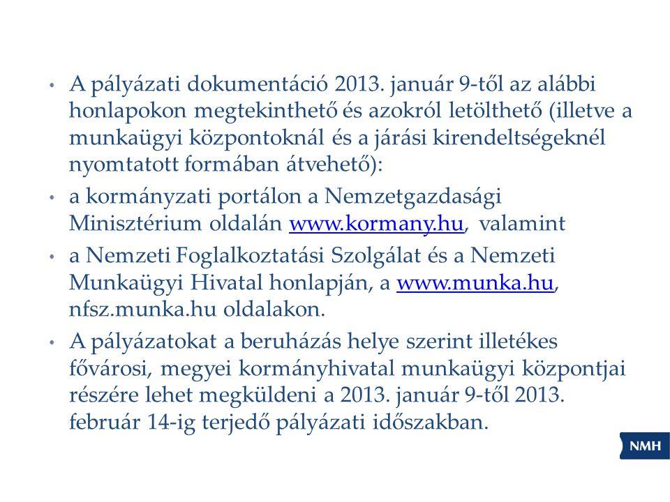 A pályázati dokumentáció 2013