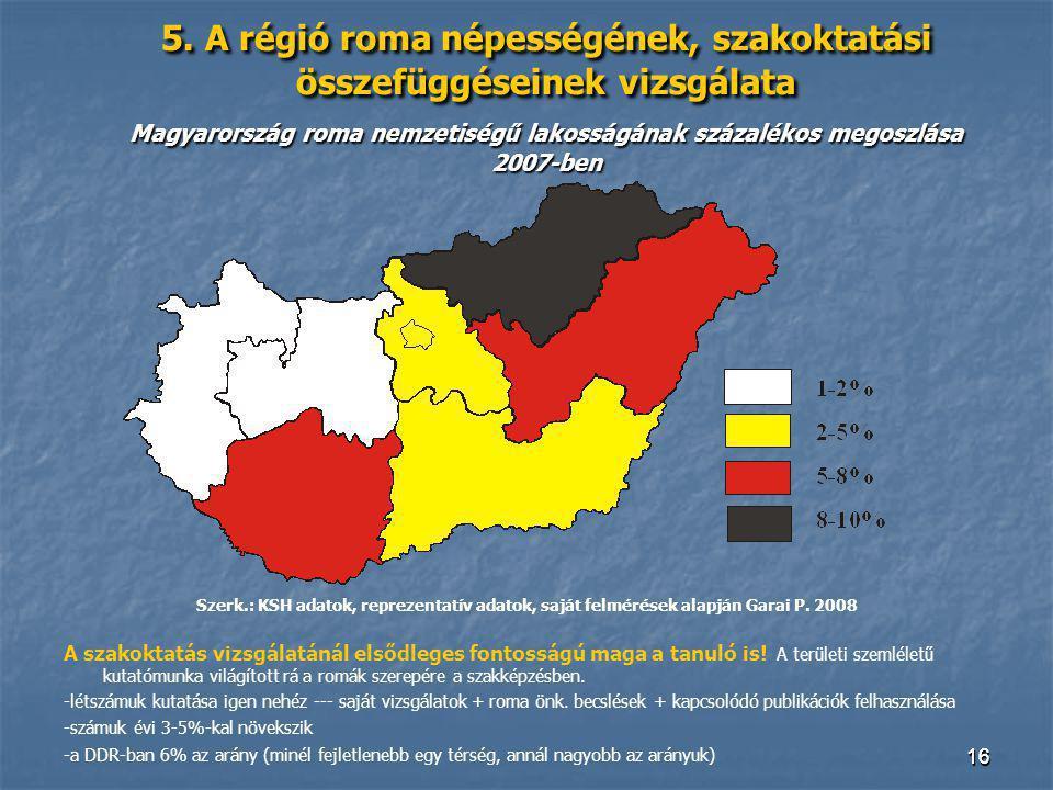 5. A régió roma népességének, szakoktatási összefüggéseinek vizsgálata