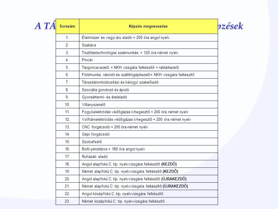 A TÁMOP 1.1.2 programban most induló képzések