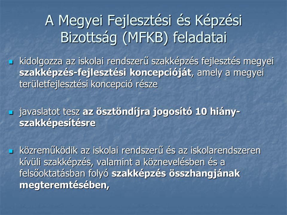 A Megyei Fejlesztési és Képzési Bizottság (MFKB) feladatai