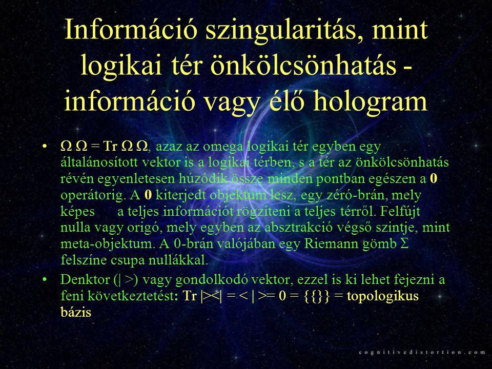 Információ szingularitás, mint logikai tér önkölcsönhatás - információ vagy élő hologram