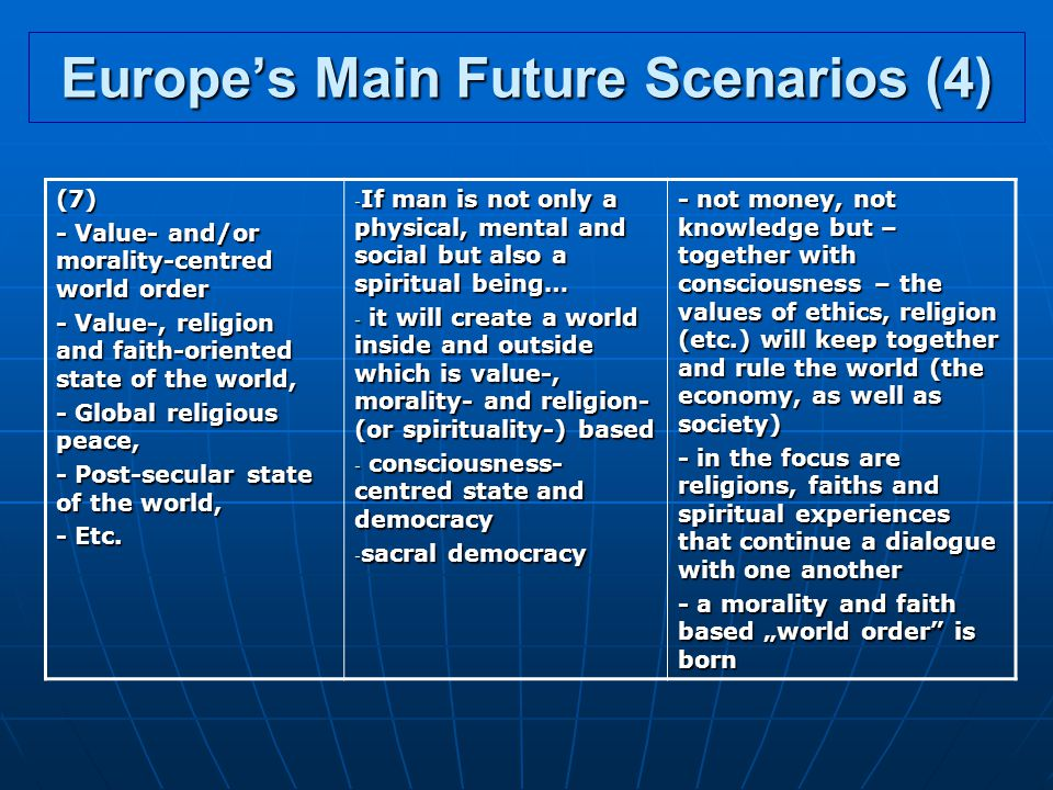 Europe's Main Future Scenarios (4)