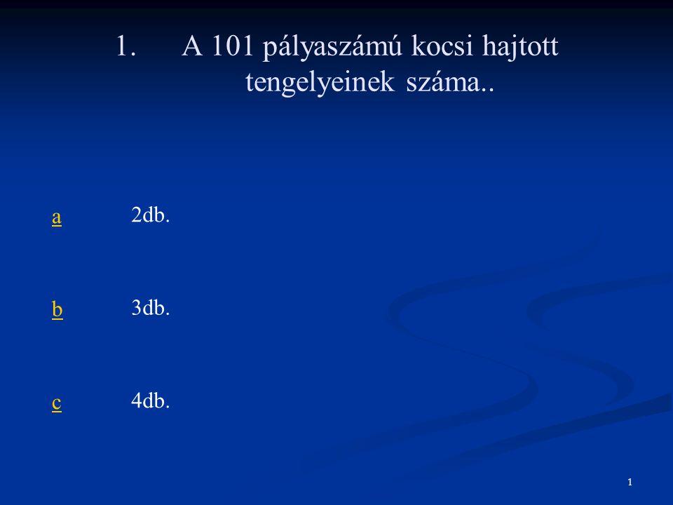 1. A 101 pályaszámú kocsi hajtott tengelyeinek száma..