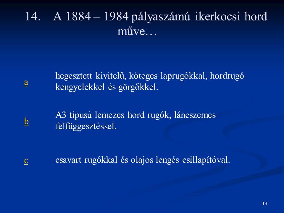 14. A 1884 – 1984 pályaszámú ikerkocsi hord műve…