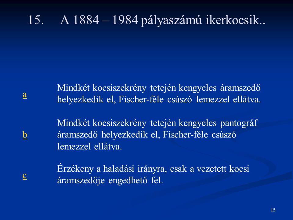15. A 1884 – 1984 pályaszámú ikerkocsik..