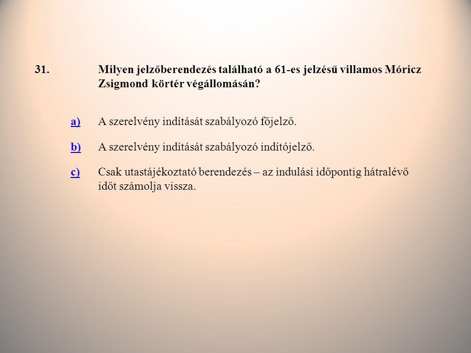 31. Milyen jelzőberendezés található a 61-es jelzésű villamos Móricz Zsigmond körtér végállomásán