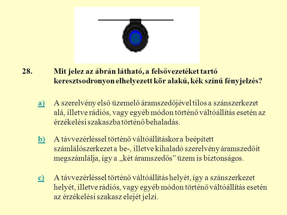 28. Mit jelez az ábrán látható, a felsővezetéket tartó keresztsodronyon elhelyezett kör alakú, kék színű fényjelzés