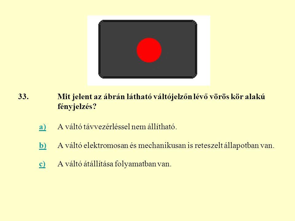 33. Mit jelent az ábrán látható váltójelzőn lévő vörös kör alakú fényjelzés a) A váltó távvezérléssel nem állítható.