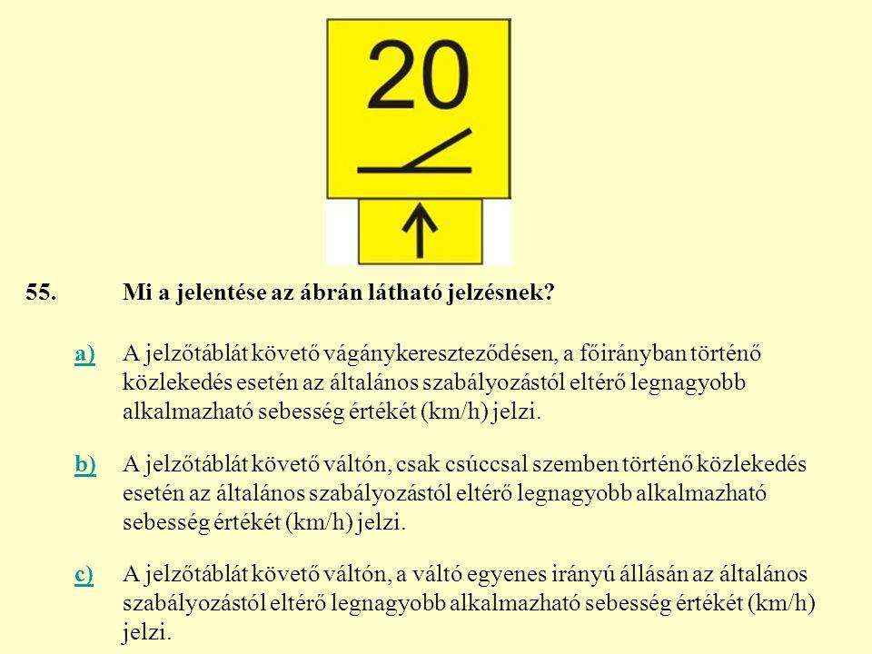 55. Mi a jelentése az ábrán látható jelzésnek a)