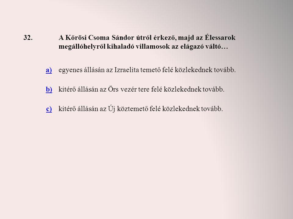 32. A Kőrösi Csoma Sándor útról érkező, majd az Élessarok megállóhelyről kihaladó villamosok az elágazó váltó…