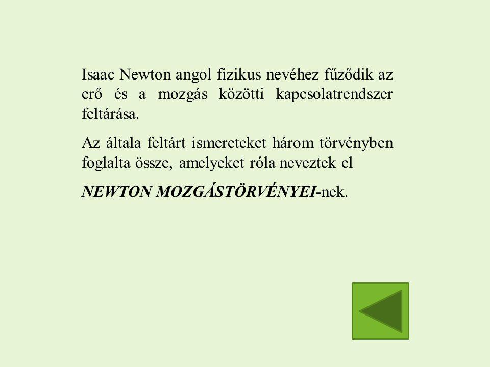 Isaac Newton angol fizikus nevéhez fűződik az erő és a mozgás közötti kapcsolatrendszer feltárása.