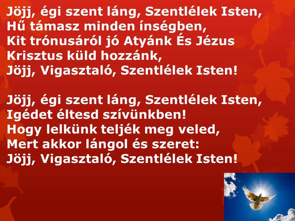 Jöjj, égi szent láng, Szentlélek Isten,