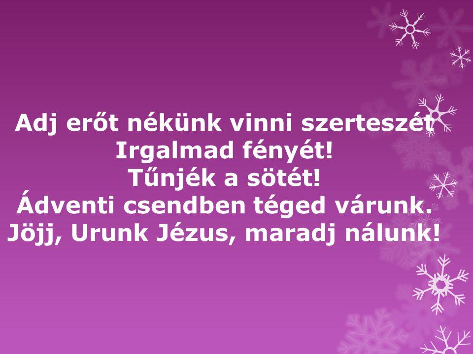 Ádventi csendben téged várunk. Jöjj, Urunk Jézus, maradj nálunk!