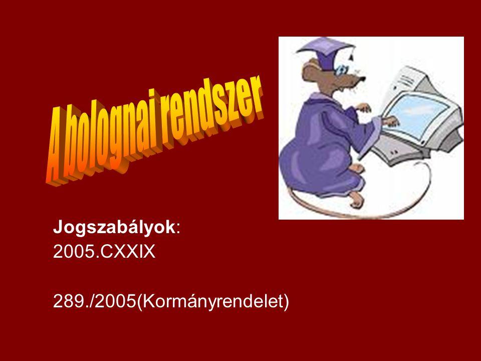 A bolognai rendszer Jogszabályok: 2005.CXXIX