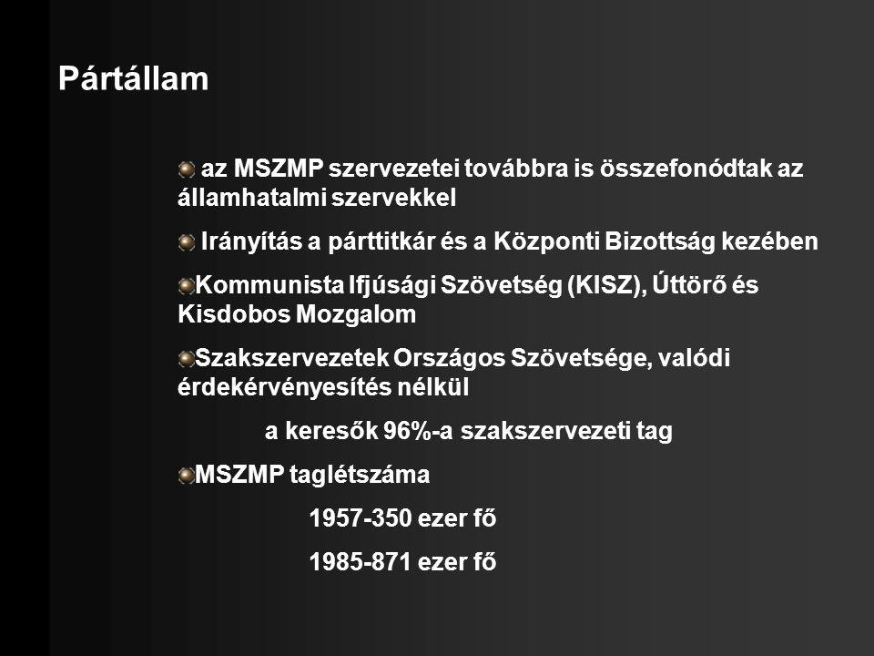 Pártállam az MSZMP szervezetei továbbra is összefonódtak az államhatalmi szervekkel. Irányítás a párttitkár és a Központi Bizottság kezében.