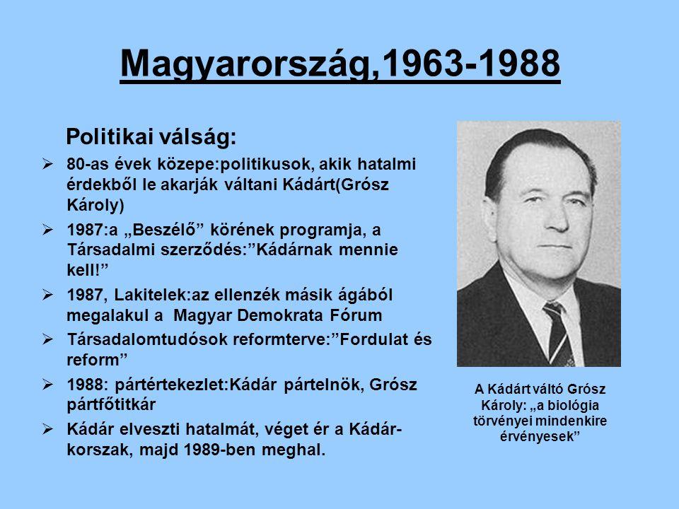 Magyarország,1963-1988 Politikai válság: