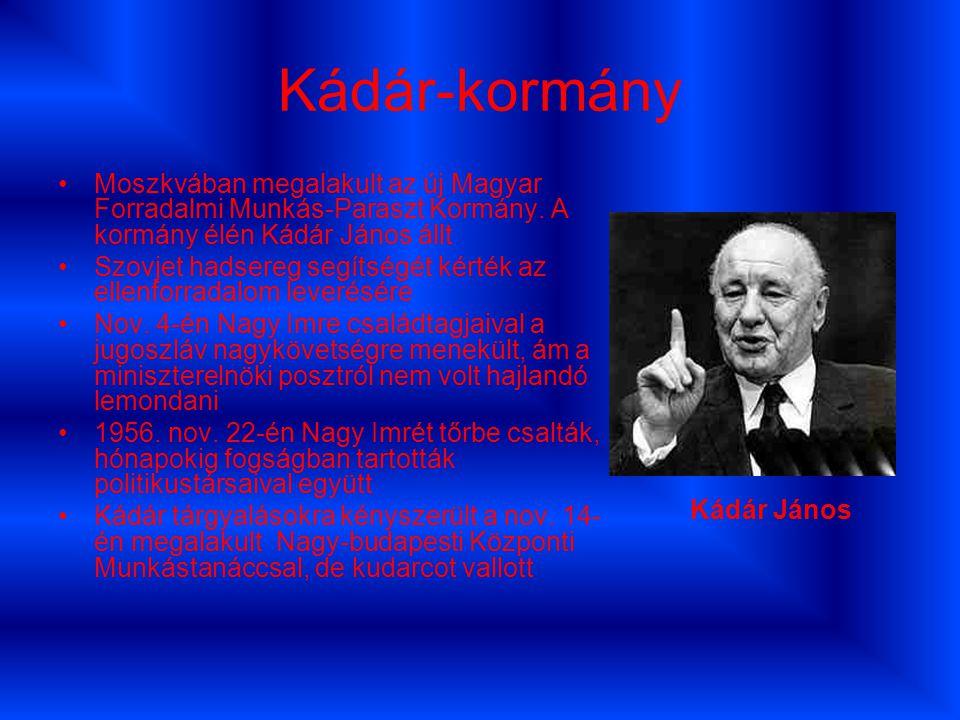 Kádár-kormány Moszkvában megalakult az új Magyar Forradalmi Munkás-Paraszt Kormány. A kormány élén Kádár János állt.