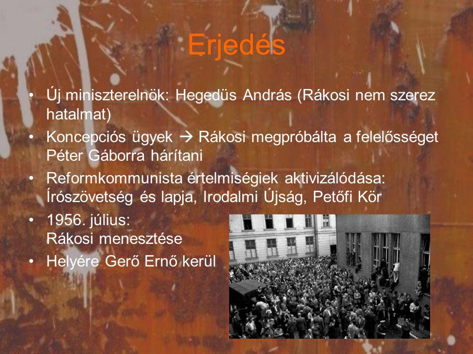 Erjedés Új miniszterelnök: Hegedüs András (Rákosi nem szerez hatalmat)