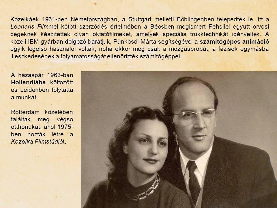 Kozelkáék 1961-ben Németországban, a Stuttgart melletti Böblingenben telepedtek le. Itt a Leonaris Filmmel kötött szerződés értelmében a Bécsben megismert Fehsllel együtt orvosi cégeknek készítettek olyan oktatófilmeket, amelyek speciális trükktechnikát igényeltek. A közeli IBM gyárban dolgozó barátjuk, Pünkösdi Márta segítségével a számítógépes animáció egyik legelső használói voltak, noha ekkor még csak a mozgáspróbát, a fázisok egymásba illeszkedésének a folyamatosságát ellenőrizték számítógéppel.