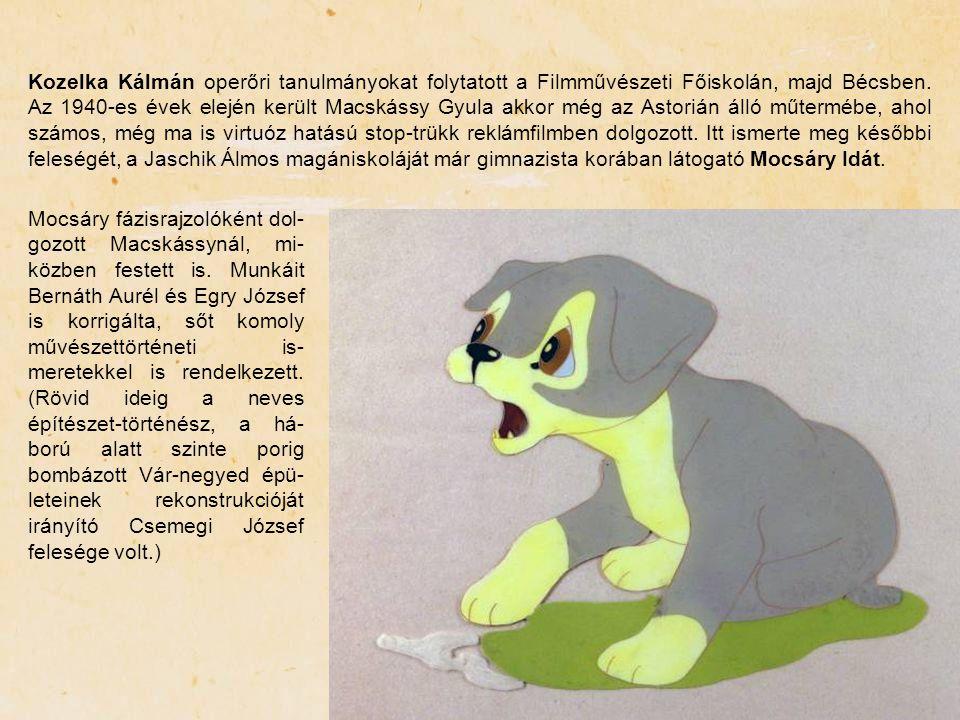 Kozelka Kálmán operőri tanulmányokat folytatott a Filmművészeti Főiskolán, majd Bécsben. Az 1940-es évek elején került Macskássy Gyula akkor még az Astorián álló műtermébe, ahol számos, még ma is virtuóz hatású stop-trükk reklámfilmben dolgozott. Itt ismerte meg későbbi feleségét, a Jaschik Álmos magániskoláját már gimnazista korában látogató Mocsáry Idát.